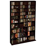 Atlantic Oskar Adjustable Media Wall-Unit - Holds 1080 Cds, 504 Dvds or 576 Blu-Rays/Games, 30 Adjustable and 6 Fixed Shelves PN38435714 In Espresso