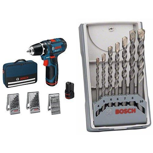 Bosch GSR 10.8-2 LI - Atornillador taladrador a batería + 2 607 017 082 - Juego de 7 bs para hormigón CYL-3 - 4; 5; 6; 6; 7; 8; 10 mm (pack de 7)