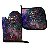 Oven Mitts and Pot Holders Insulated Gloves & Kitchen Counter Safe Mats Dream Catcher Indian Owl for Cooking BBQ Baking Grilling (2-Piece Set)