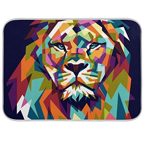 Ghypt - Escurridor para platos de cocina con diseño de león con geometría de animales, absorbente, de microfibra, antideslizante, secado rápido, lavable, para el hogar, 40,6 x 45,7 cm