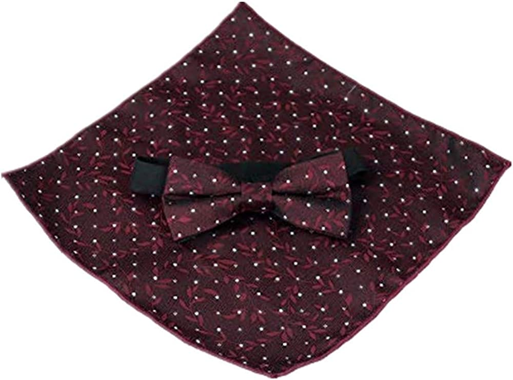 Mens Classic Pre-Tied Satin Formal Tuxedo Blouse Bow Tie Adjustable & Pocket Square Set for Wedding