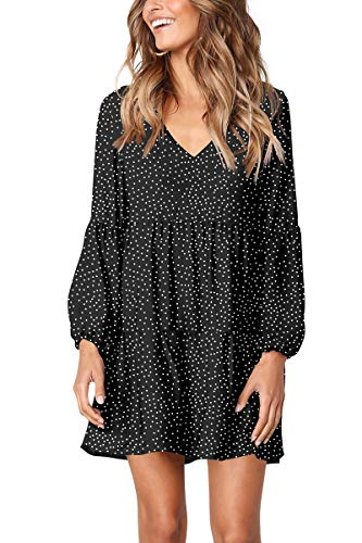 Cosonsen Womens Casual Loose Shift Dress V Neck Babydoll Dress Polka Dot Black XL