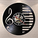BFMBCHDJ Sala de Piano Letrero de Pared Decoración Notas Musicales Mute Vinyl Record Clock Arte de Pared Silent Quartz Vinyl Watch Musician Pianist Teacher Gift