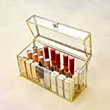 organizador pintalabios,almacenamiento de lápiz labial multicelular de escritorio de vidrio,estante de exhibición de lápiz labial a prueba de polvo con tapa,patrón de borde amor,organizador labiales