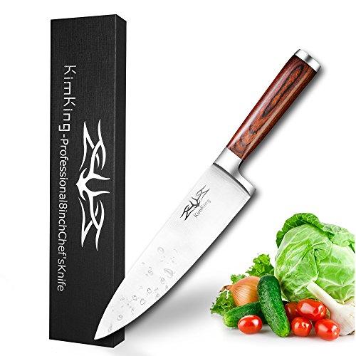 Chef coltello 20 centimetri professionale carbonio in acciaio inox bordo diritto Coltello da cucina manico in legno