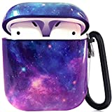 Airpods Case - LitoDream Cute Marble Galaxy Apple Airpods Accessories Protective Hard Case Cover Portable & Shockproof Women Girls Daughter with Keychain for Airpods 2/1 Charging Case (Purple Space)