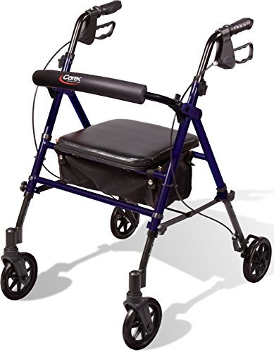 Carex Step #039N Rest Aluminum Rollator Walker With Seat  Rolling Walker For Seniors With Back Support 6 Inch Wheels 250lbs Support Lightweight