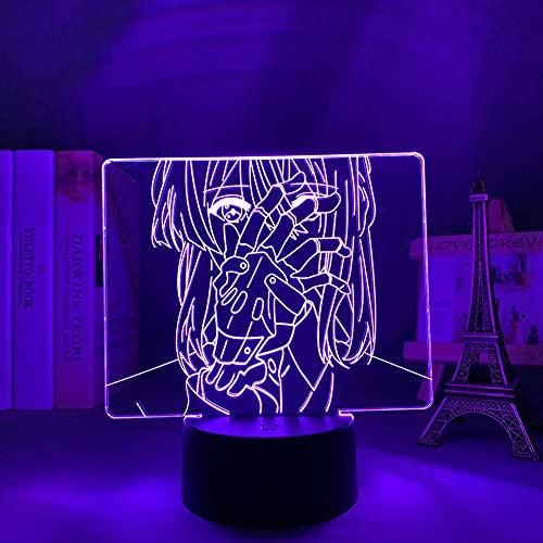3D Led Night Light Talbe Illusion Lamp Purple Evergarden for Bedroom Decoration Kids Birthday Present Room Desk Acrylic-No Remote