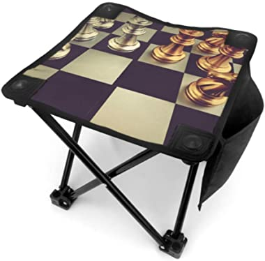 WBSNDB Folding Stool Camp Chair Stool Chess Board with Chess Pieces On Black Lightweight Folding Camping Stools for Camping F