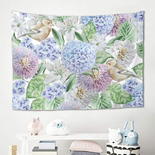 Niersensea Arazzo da parete con fiori e uccelli, telo da spiaggia, copridivano, per soggiorno, camera da letto, spiaggia, sciarpa, tavolo bianco, 150 x 130 cm