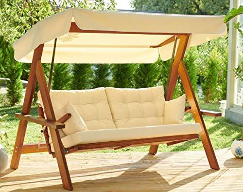 Casa Padrino Columpio de Hollywood de Lujo Crema/marrón - Columpio de jardín Moderno Resistente a la Intemperie con toldo para el Sol - Columpio de Terraza de Jardín - Muebles de Lujo
