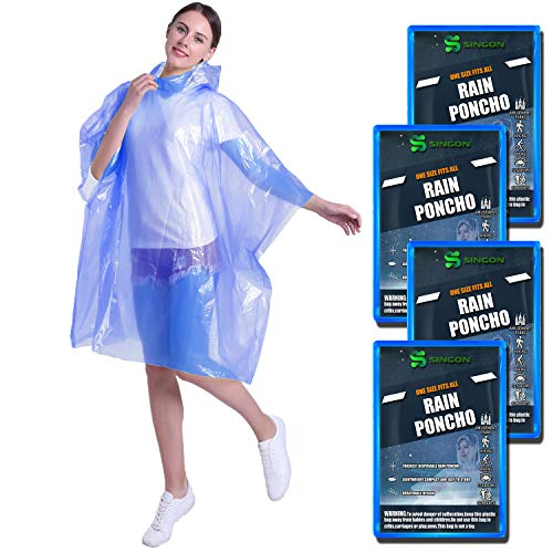SINGON Disposable Rain Ponchos for Adults (4 Pack) - 60% Extra Thicker Men or Women Waterproof Emergency Rain Ponchos with Hood - Lightweight Universal Design - Blue