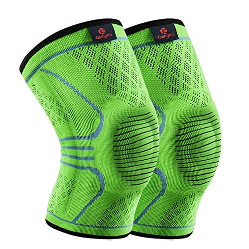 Kuangmi Kniebandage Kompression 3 Versionen für Vorbeugung von Sportverletzungen 2 Stück (X-Large, Upgraded Green)