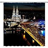ABRAN Köln Deutschland Urban Night Scene Decor schwarz Duschvorhang Kathedrale Hohenzollernbrücke Rhein Brilliant City Light wasserdicht Polyester Bad Vorhänge mit Haken