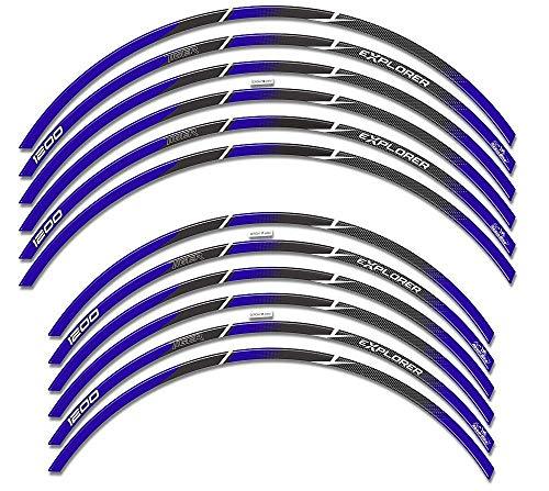 Adhésifs 3D Compatible avec Roues Triumph Tiger Explorer 1200 - Bleu