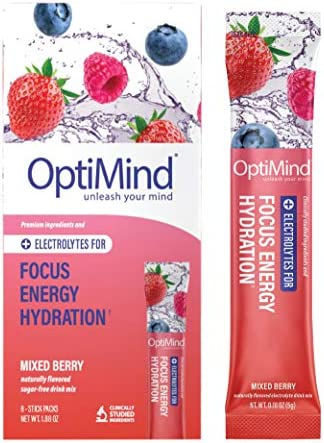 OptiMind Focus Energy Sugar Free Electrolyte Water Booster for Nootropics Vitamins Energy Natural product image