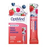 OptiMind Focus + Energy   Sugar-Free, Electrolyte Water Enhancer with Nootropics, Vitamins, & Energy   Focus, Energy, Hydration   Clean Caffeine   Natural Mixed Berry Flavor Water Flavoring   8 Pack