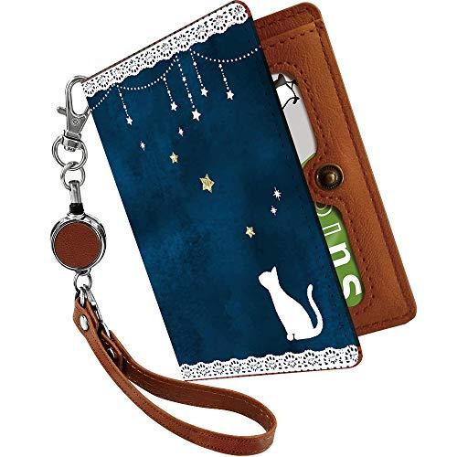 パスケース 定期入れ リール付き かわいい 猫 レース 星 月 夜空 動物 アニマル柄 二つ折り 中がみえない おしゃれ レディース 猫柄 ねこ柄 ブルー [猫 レース 星 月 夜空/ps]