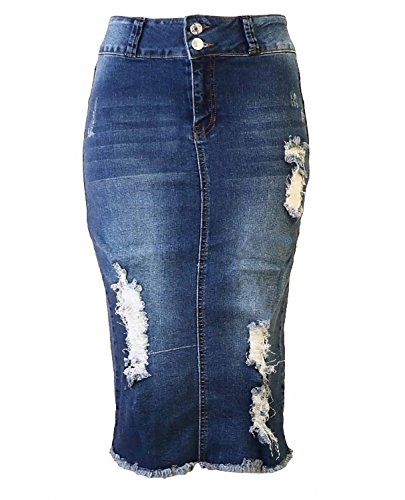 Womens Junior/Plus Size Below Knee Length Midi Pencil Ripped Denim Skirt Washed Blue