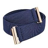 Samtree Stretch Elastic Belt for Women, Adjustable No Show Flat Buckle Lightweight Cinch Waistband for Dresses, Navy Blue