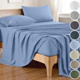 DECOLURE 100% Bamboo Sheets Full Size (4 Pieces, 8 Colors) Soft Cooling Sheets Full with Bamboo Fitted Sheet,Bamboo Sheet Set,Cooling Sheet,Cool Sheets for Hot Sleepers,Bamboo Bedding,Light Blue