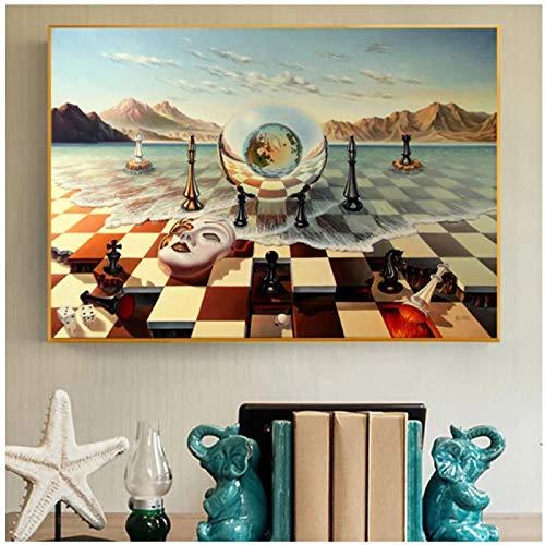 Mscara de ajedrez surrealista en el mar Pinturas en lienzo Carteles abstractos e impresiones Cuadros de pared para la decoracin del hogar de la sala de estar 16x20 pulgadas (40x50cm)