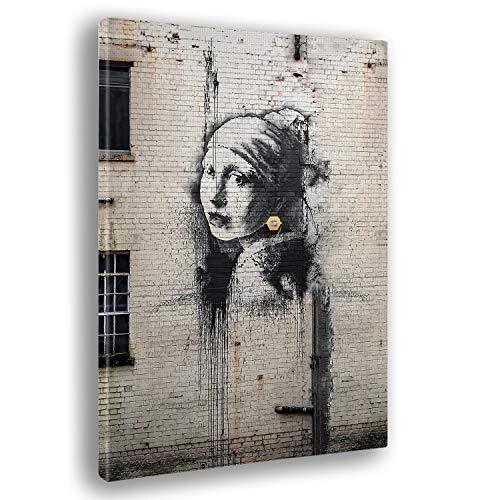 Quadro già intelaiato - pronto da appendere - Stampa su Tela Canvas - Banksy - Ragazza con l'orecchino di perla - Quadri moderni arredo casa design - soggiorno - Vari formati XXL - 100x140 cm