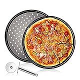 Bandejas Pizza Juego de 3,Acero al Carbono Bandejas para Pizza Horno Redondas Antiadherentes de 12 Pulgadas,Molde para Pizza con Agujeros-Cortador de Pizza-Adecuado para Fiestas Familiares de Cocina