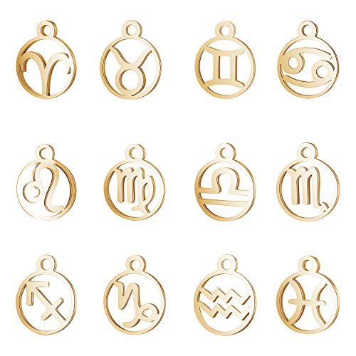 UNICRAFTALE 12pcs Ring with Zodiac Sign Charm Hypoallergenic Dangle Pendants Stainless Steel Charms Golden Hollow Manual Polishing Pendant Charms Connectors for Jewelry Making 1.6mm Hole