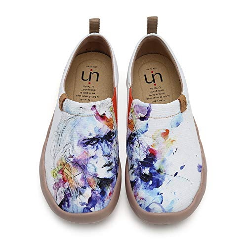 UIN Women's Fairy Painted Canvas Slip-On Shoes Female Fashion Travel Shoe White (8.5)