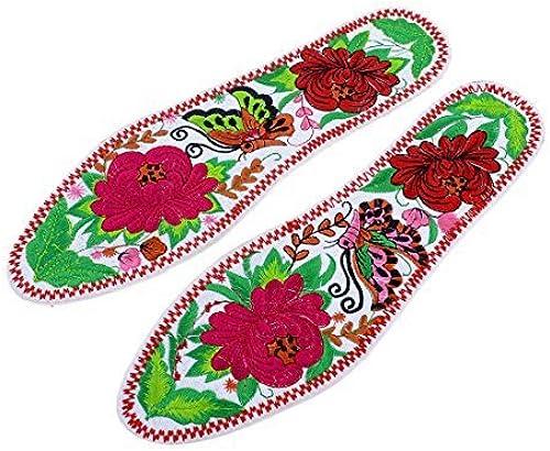 Handgemachte Stickerei Ersatzeinlagen Flache Schuh-Auflage Weiße Paare EU 39
