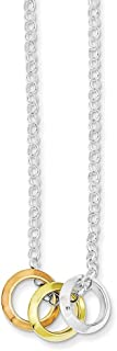"""Lex & Lu Sterling Silver Rhod Plated, Yellow GP & Rose GP, 3 Circle Necklace 16"""""""