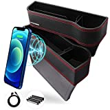 Car Seat Gap Filler - AUTOOMMO 2 Pack Car Seat Gap Organizer with 10W Wireless Charging Car Front Seat Organizer PU Leather Console Side Storage for Phones Wallets Keys Cards Sunglasses