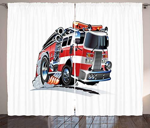 ABAKUHAUS Vrachtauto Gordijnen, Brandweer Vrachtwagen, Woonkamer Slaapkamer Raamgordijnen 2-delige set, 280 x 175 cm, Baby Blue Scarlet