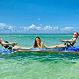 STRPRETTY BASIC Floating Water Pad, 3 Layers Foam Water Floating Mat with Elastic Tether and Storage Straps for Lake Ocean, Giant Lily Pad for Water Activities and Relaxing (12x6 FT)-Blue