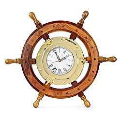 Nagina International Nautical 18 Ship Wheel Brass Porthole Wall Clock