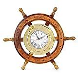 Nagina International Nautical 18' Ship Wheel Brass Porthole Wall Clock