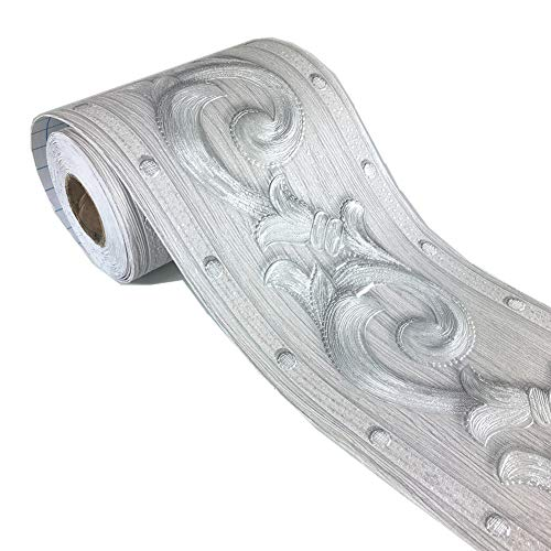 Elegante grigio floreale stampaggio carta da parati bordo buccia stick casa soffitto bordo decorativo per bagno soggiorno cucina 10 cm x 5 metri