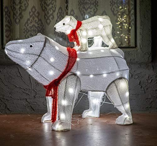Joiedomi 2 Packs Plush Polar Bears 80 LED Warm White Yard Lights for Christmas Outdoor Yard Garden Decorations, Christmas Event Decoration, Christmas Eve Night Decor