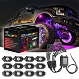RGB LED Rock Lights 12 Pods, SWATOW 4x4 Neon Lights Kit Undergolw Wheel Well Lights Bluetooth Rock Lights for UTV Truck ATV Car Multicolor