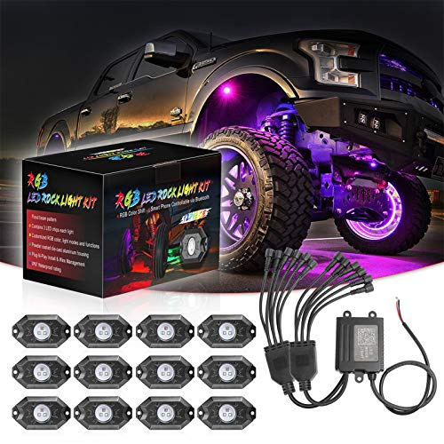 RGB LED Rock Lights 12 Pods, SWATOW 4x4 Neon...