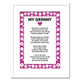 The Art Stop Quote My Granny Poem Pink Flowers Kids Family Love Framed Print F97X9858
