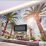 Lifme Fondo De Pantalla Personalizado De La Foto Murales De La Playa De La Palma De Coco En 3D Tema De La Habitación Mural De La Pared Del Fondo Del Hotel-350X250Cm