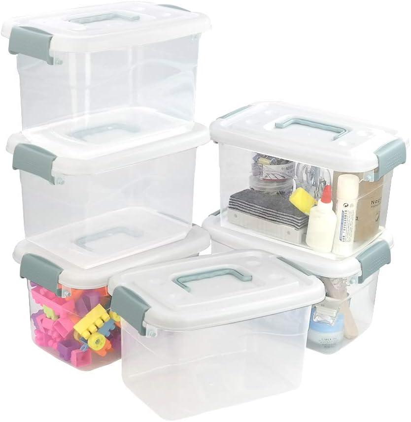 Sosody Plastic Clear Storage Brand Cheap Sale Venue Bins 5 Boxes L Oklahoma City Mall Pack 6 Latch