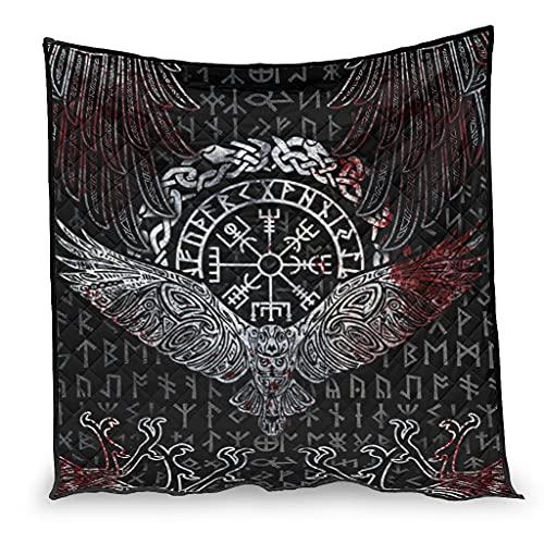 Dessionop Manta vikinga con cuervo de Odin Vegvisir con nudos celtas Fathurk impresión del aire acondicionado, colcha de lujo, color blanco 3 180 x 200 cm