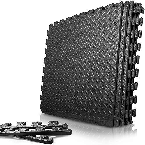 トレーニング ジョイントマット キズ防止 高硬度 振動吸収 床保護(ブラック) (ブラック, 6枚入り 60*60*2CM)