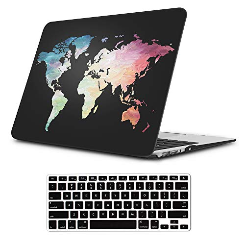 "iLeadon MacBook Pro 13 Inch Case with Retina Display 2012-2015 Release Model A1425/A1502 Rubberized Hard Shell Cover+Keyboard Cover for MacBook Pro 13"" Retina Non CD ROM, Black Map"
