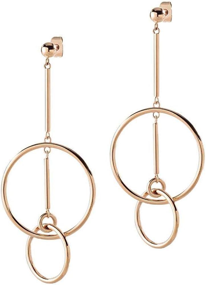 Morellato,orecchini per donna,in acciaio e pvd oro rosa, con pendenti a forma di cerchi sovrapposti SAKM13
