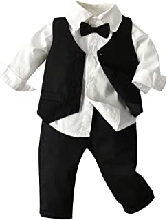 Shusuen Baby Boys Clothes Sets Bow Tie Shirts + Suspenders Pants + Vests 3pcs Toddler Boy Gentleman Outfits Suits