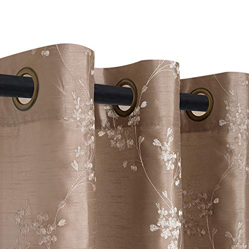 jinchan Faux Silk Floral Embroidered Grommet Top Curtains for Bedroom Embroidery Curtain for Living Room 63 inches Long, 1 Pair, Taupe